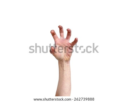 Hand in grabbing position isolated on white - stock photo