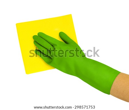 Hand in green glove with yellow rag isolated on white background
