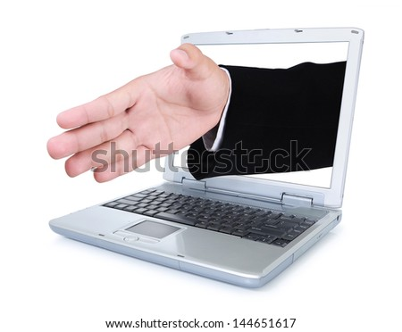 Hand in greeting out of the laptop screen, isolated on white background