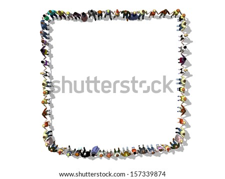 Hand in hand, human chain forms a square - stock photo