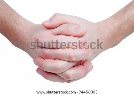 Hand in hand isolated on white background