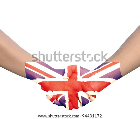 Hand in Hand of Handshake with Flag of Union Jack or United Kingdom - stock photo