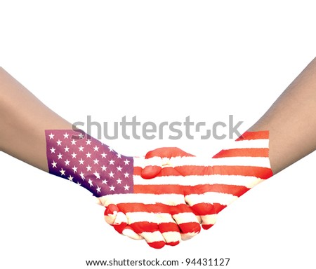 Hand in Hand of Handshake with Flag of United state of America