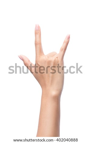 Hand in I love you,Love hand sign,hand language, Isolated on white with clipping path included - stock photo