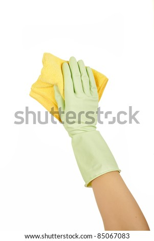 Hand in rubber glove with sponge isolated on white background. Cleaning - stock photo