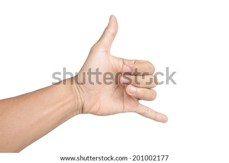 hand in shaka or calling gesture on a white isolated background