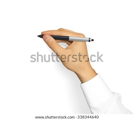 Hand in sleeve shirt holding grapic tablet stylus. Creative equipment isolated. Designer drawing, painting, sketching. New digitizer pencil presentation. Input device stick.  - stock photo