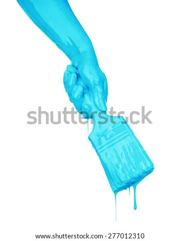 hand in the paint isolated on white - stock photo
