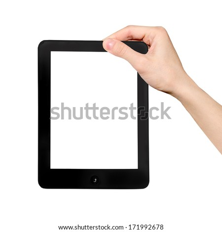 Hand in the tablet PC, isolated on white background.