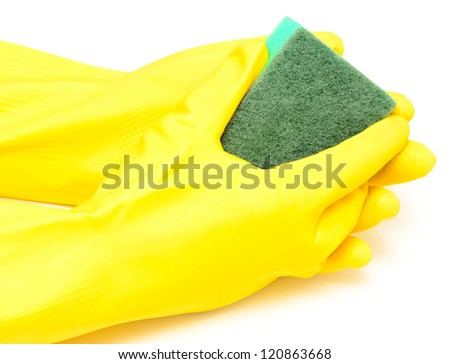 hand in yellow glove with sponge isolated on white