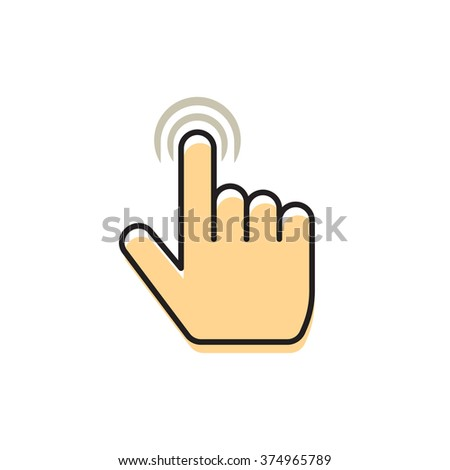 Hand index finger with abstract waves icon concept of multi touch mobile phone technology