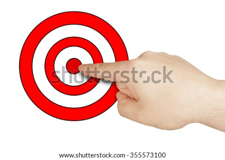 Hand indicating pointing or hitting drawn target isolated - stock photo