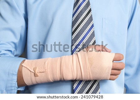 Hand injured businessman , insurance concept  - stock photo