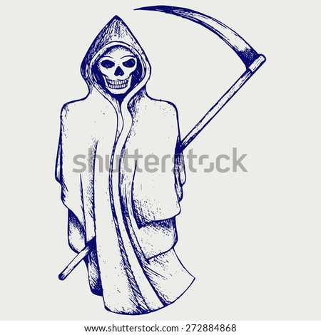 Hand inked grim reaper. Doodle style. Raster version - stock photo
