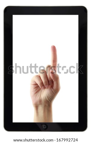 Hand inside tablet pointing up isolated on white - stock photo