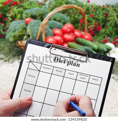Hand is a diet plan against natural products - stock photo