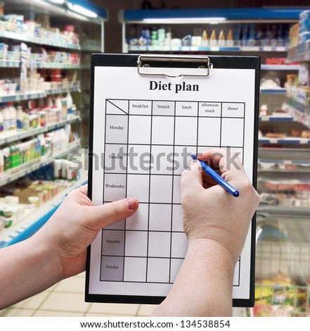 Hand is a diet plan against products in the supermarket - stock photo