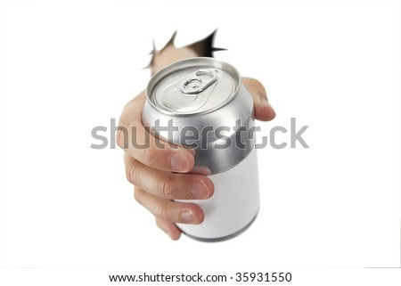 hand is bracking paper with a can - stock photo