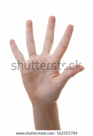 Hand is counting number 5 over white background