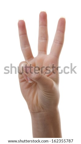 Hand is counting number 3 over white background