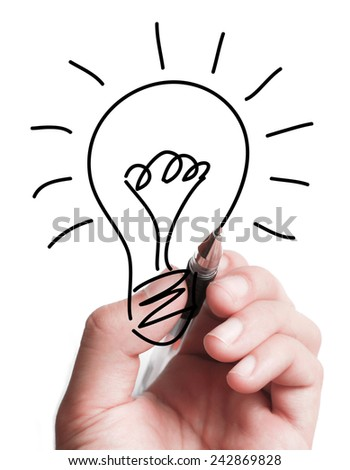 Hand is drawing a light bulb on transparent white board. - stock photo