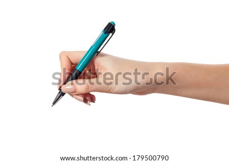 Hand is holding a pen writing on the white background