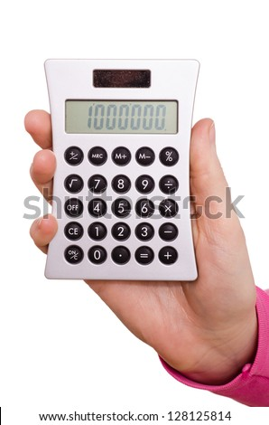 Hand is holding a pocket calculator and displaying one million - stock photo