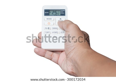 Hand is holding a remote control of air conditioner 25 degrees Celsius only.