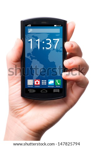 hand is holding a touch screen smartphone with mobile interface | isolated on white background - stock photo
