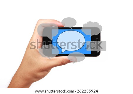 Hand is holding the smart phone with social media concept isolated on white background. - stock photo