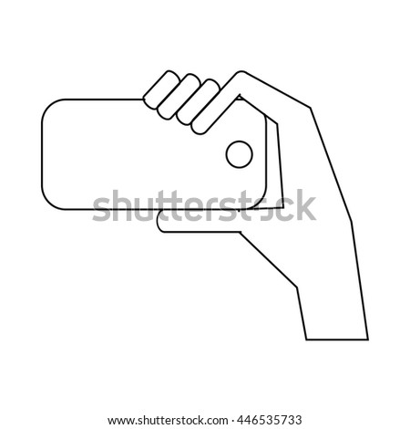 Hand is photographed on phone icon in outline style isolated on white background. Communication symbol