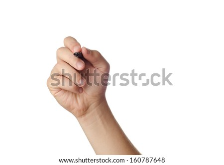Hand is ready for drawing with black marker. Isolated on white. - stock photo