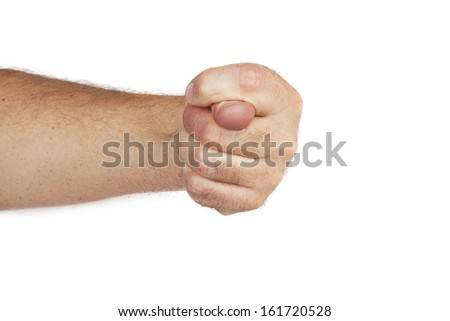 Hand is showing a fig sign isolated on a white background - stock photo