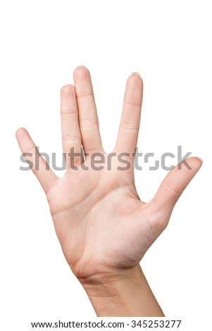 Hand is showing five fingers isolated on white background