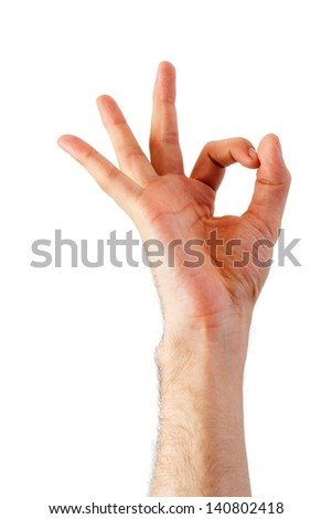 Hand is showing OK sign isolated on a white background - stock photo