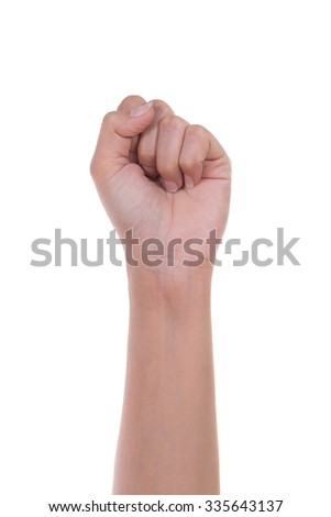 hand is showing zero fingers isolated on white background