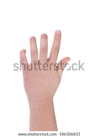 Hand isolated on white gesturing grabbing. Isolated on a white background.