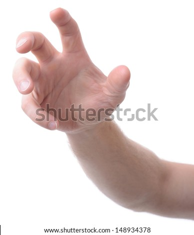 hand isolated on white gesturing grabbing or reaching - stock photo