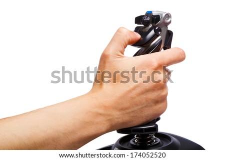 hand joystick control flight simulator on a white background - stock photo