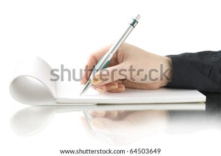 hand keep pen and writing on the notebook isolated on white and reflection - stock photo
