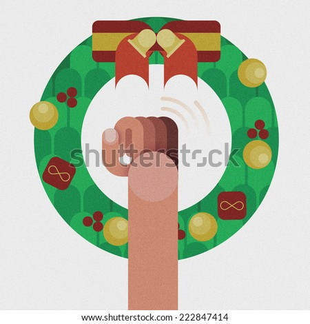 Hand knock door,christmas wreath with red ribbon bow decoration isolated by Christmas concept  - stock photo