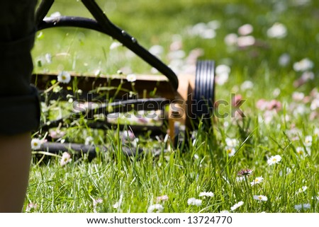 Hand lawn mower close up in meadow with daisies - stock photo