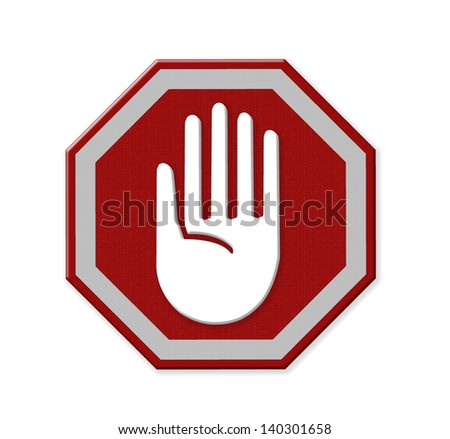 Hand left Stop Sign, mesh isolate on white background - stock photo