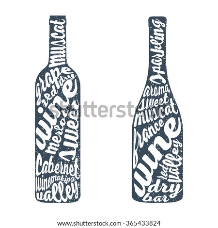 Hand lettering bottle of wine.  illustration Isolated on background.  - stock photo