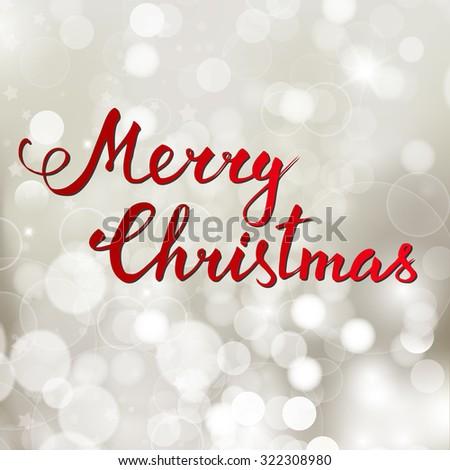 Hand-lettering Merry Christmas on  bokeh background. Raster version - stock photo