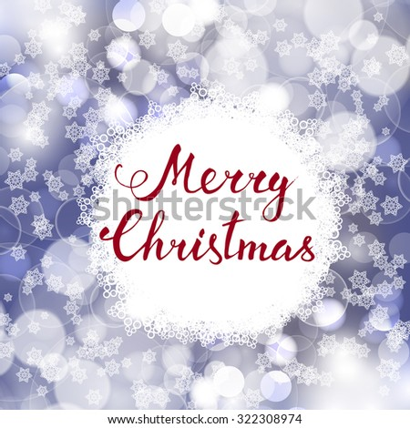 Hand-lettering Merry Christmass on a Christmas decoration background. Raster version - stock photo