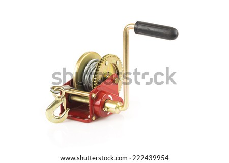 Hand lever winch isolated on white - stock photo