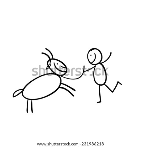 Hand line drawn black and white cartoon Funny black and white illustration a man - sticky figure with a goat- - stock photo