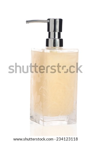 hand liquid soap isolated on white background with reflection - stock photo