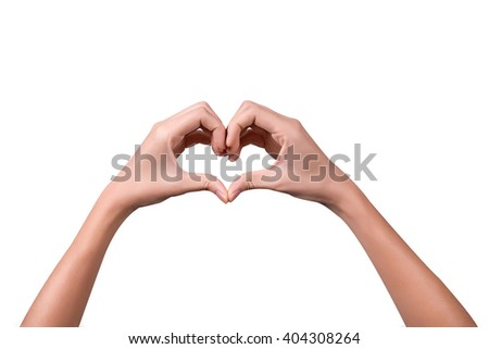 Hand love. Female hands shaping a heart symbol on white backgrou